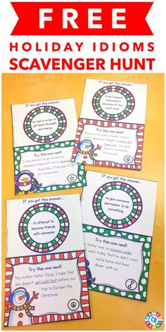 These were FANTASTIC for practice. My kids loved them! This FREE Holiday Idioms Scavenger Hunt comes with 12 cards for practicing Christmas and winter-themed idioms this month!