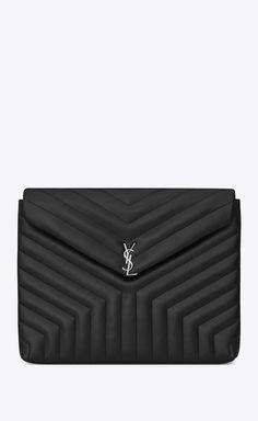 Loulou Dokumentenmappe aus schwarzem Leder mit Y-Matelassé-Nähten 0bd2c285b58a1