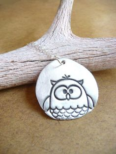 Owl necklace woodland whimsical hand stamped by DreamofaDream