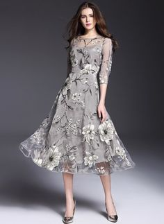 Polyester Floral 1027961/1027961 Sleeves Mid-Calf Cute Dresses (1027961) @ floryday.com
