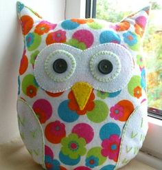 Handmade Felt Owl Pillow Lavender Scented by SewJuneJones on Etsy Handmade Felt, Handmade Pillows, Handmade Crafts, Decorative Pillows, Handcrafted Gifts, Fabric Crafts, Sewing Crafts, Sewing Projects, Owl Pillow Pattern
