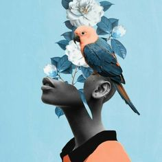 Loving this pic Girl with parrot by via Collage Kunst, Art Du Collage, Collage Illustration, Collage Design, Art Collages, Collage Artists, Pop Art, L'art Du Portrait, Collage Portrait