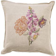Foxglove Pillow from KESTREL. Inspired by the sprouting of spring, this pillow will bring the blooms inside + continue to bring warmth throughout all seasons! By Coral + Tusk.