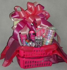 cute gift basket idea for a girly girl or make. It blue for a tom boy, colorful for scene black for goth or emo or just get a bunch of stuff from bath and body works