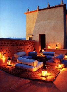North African inspired rooftop living space lit by lanterns - perfect place to enjoy the canopy of stars above...
