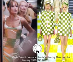 #FashionLoop - Carla Bruni in Versace, January 1995 VS Louis Vuitton by Marc Jacobs SS 2013