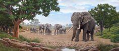 Elephant Herd (not dated) - Johan Hoekstra Wildlife Art