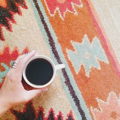 { design day = black coffee + the coolest rug ever }