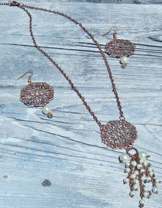 Copper Filigree Necklace & Earrings Set With by McHughCreations, $24.00