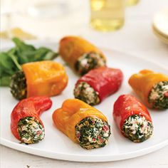 Mini Sweet Peppers Stuffed with Goat Cheese and Spinach