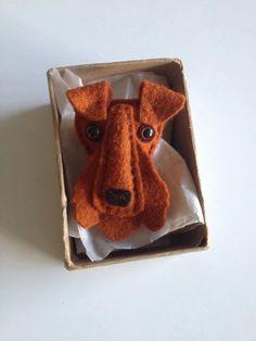 Handmade Felt Dog Brooch pin christmas gift pug by TheBigForest, £15.00