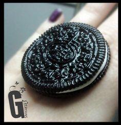 Soooo cute to make this. Oreo cookie Handmade polymer clay Ring