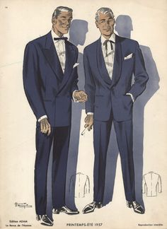 Dinner Jackets, Vintage 1950s Fashion Print