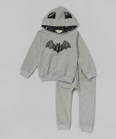 Leighton Alexander Gray & Black Bat Hoodie - Infant, Toddler & Boys | zulily