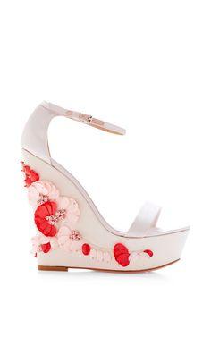 Embellished Satin Wedge Sandals by Giambattista Valli Now Available on Moda Operandi