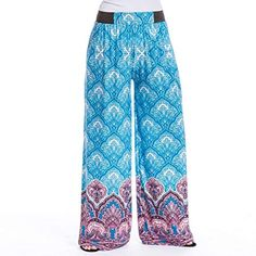 7774c84cb35 Magic Pantz Blue Medallion Palazzo Pants - Cut to Length