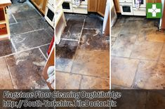Our clients owned a stunning 400-year-old cottage in the village of Oughtibridge, Sheffield with a Flagstone floor in the Kitchen. The floor was original to the building but wasn't practical, it had 400 years of dirt and grime stuck to it and over the years had turned black. south-yorkshire.tiledoctor.biz/400-year-old-flagstone-floor-restoration-in-oughtibridge