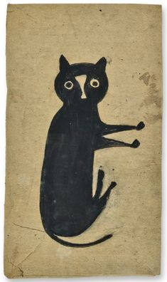 "Bill Traylor, ""Black Cat."" Transfer to crochet"