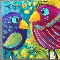 Acrylics, birds, color by Betsy Walcheski