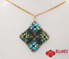 Beautiful two-sided pendant made in peyote stitch.Tutorial for Mond Pendant is very detailed, easy to follow, step by step, with color photos of each step.