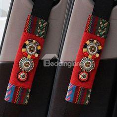 Most Popular Bohemian Style Beautiful Seat Belt Cover New Car Accessories, Bohemian Accessories, Princess Car, Seat Belt Pads, Hippie Car, Van Gogh Almond Blossom, Bohemian Furniture, Bohemian Bedding, Beaded Curtains