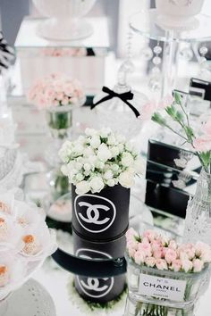 Black and white Chanel birthday party! See more party ideas at CatchMyParty.com!