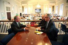 Mayor Bloomberg, Technion President Peretz Lavie, and Cornell President David Skorton meet to discuss the NYC Tech Campus.
