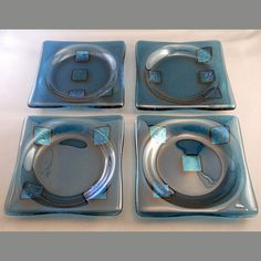 Blue Squares  Fused Glass Coaster Set by PattyMelts