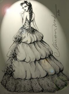 DESENHOS DE MODA: Desenhos de Moda - Vestido de Noiva romântica.