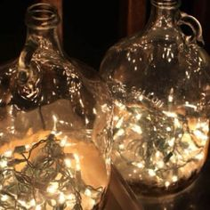 Glass Jugs Filled With String Lights (Battery Operated)    I Love To Reuse Glass(try not to buy plastic)   I Love To Use Light In Decor.