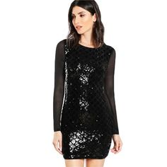 Black Contrast Mesh Long Sleeve Sheer Back Sequin Dress