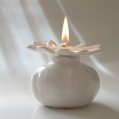 white ceramic FIRE BIRD oil lamp perfect gift romantic candle or ...
