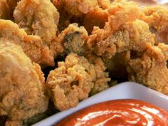 Fried Oysters Recipe : Patrick and Gina Neely : Food Network Fish Dishes, Seafood Dishes, Fish And Seafood, Seafood Recipes, Clam Recipes, Cajun Dishes, Seafood Meals, Shellfish Recipes, Cajun Recipes