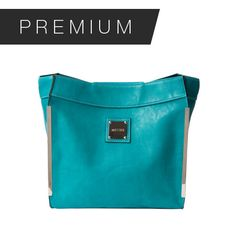 JAY - DEMI Add a dramatic splash of color to any neutral outfit with Jay for Demi MICHE bags. Smooth faux leather in a striking shade of teal blue features contrasting white stitching and black reversed seams as well as long silver hardware accents on the front edges. Jay is the epitome of LA style!  Rectangular bottom; side pockets.