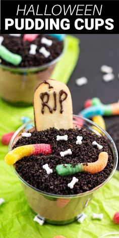 Graveyard Dirt Cups are a fun dessert perfect for a Halloween party or a silly treat at home. These pudding cups are filled with crushed Oreos, chocolate pudding, Cool Whip, and fun treats on top. Spooky Food, Halloween Desserts, Halloween Food For Party, Fun Desserts, Delicious Desserts, Dirt Cake Cups, Dirt Cups, Snack Pack Pudding, Pudding Cups