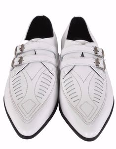 New Handmade Men s White Leather Duckies Monk Strap Loafer Shoes aae7281426bc