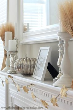 White fall mantel from Happier Homemaker