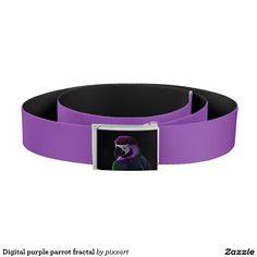 Digital purple parrot fractal belt