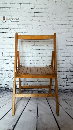Vintage solid wood folding chair mid by GingerCatUpholstery