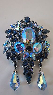 Spectacular Crown Trifari Rhinestone Blues Brooch | eBay
