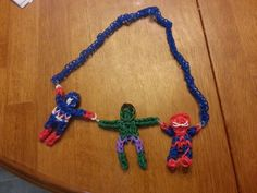 Rainbow Loom - captian america, the hulk and spiderman necklace.