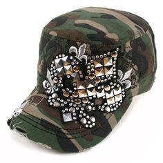 Studded Metal Fleur de Lis Cadet Cap Camo  Armed with metal studs and chic Fleur de Lis patch. This cadet cap stands out above the rest.  Metal Fleur de Lis  Distressed cap  Adjustable back