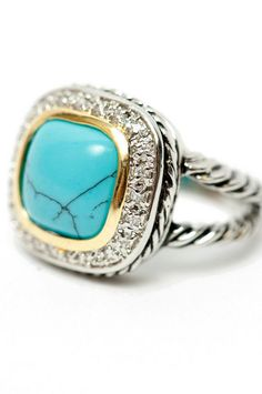David Yurman lookalike ring with turquoise stone. Turquoise is always a statement, always noticeable.