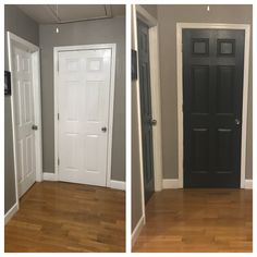 Hallway doors painted black using Behr Black Mocha and walls painted with Behr Perfect Taupe.Love the outcome! Perfect Taupe Behr, Before After Home, Black Doors, Living Room Paint, Painted Doors, Home Reno, House Painting, Tall Cabinet Storage, New Homes