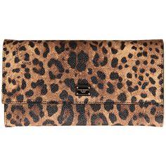 Dolce & Gabbana Brown & Black Leopard Print Leather Shoulder/Clutch... (£400) ❤ liked on Polyvore