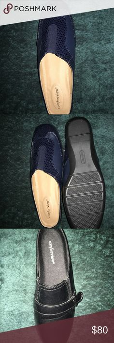 Comfortview Slides Size 10 4 pair- gray, brown, black and Blue. New, but no box. Never worn. comfortview Shoes Flats & Loafers