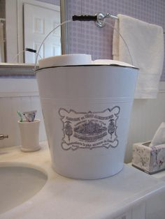 Upcycled white metal bucket French laundry label bathroom storage Shabby Cottage Chic