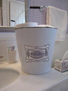 Upcycled white metal bucket French laundry label bathroom storage Shabby Cottage Chic