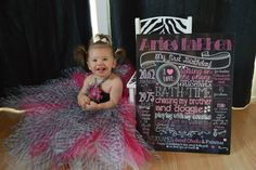 Pink and White Customized Printable Chalkboard Sign for 1st Birthday Party and Photoshoots