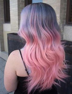 Grey to Pastel Pink Ombre Hair